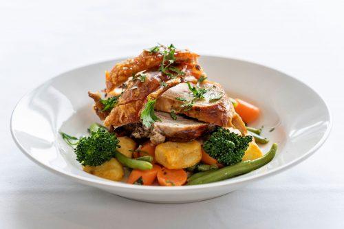 Rossdale Golf Club - Bistro menu   Crackiling Roast Pork with vegetables